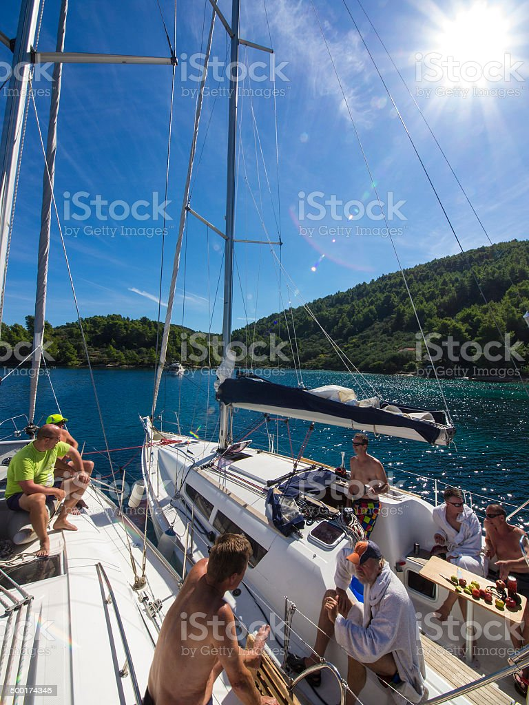 Business man meeting during sailing on Adriatic Sea, Croatia stock photo