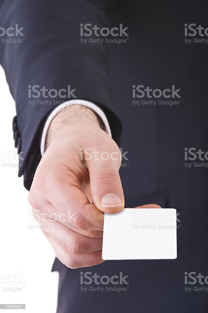 Business man offering blank card. stock photo