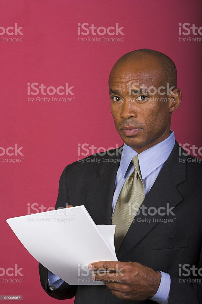 Business Man on a Red Background stock photo