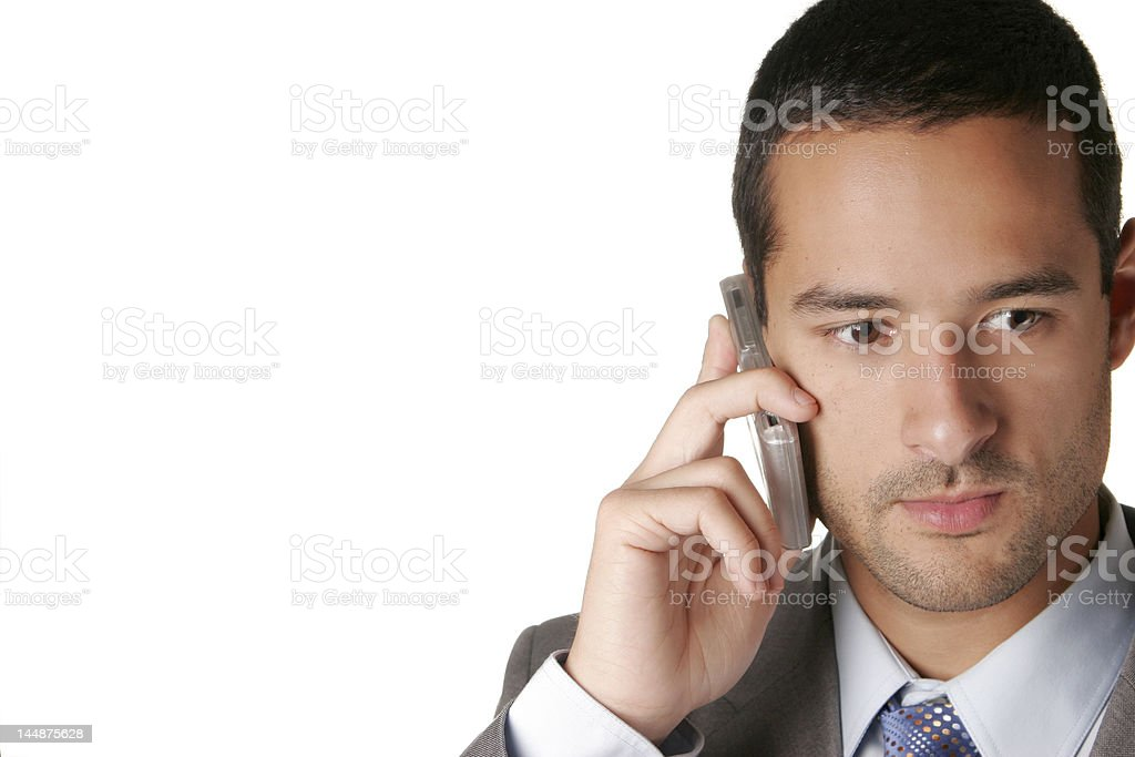 Business Man on Cell Phone- Sharif stock photo