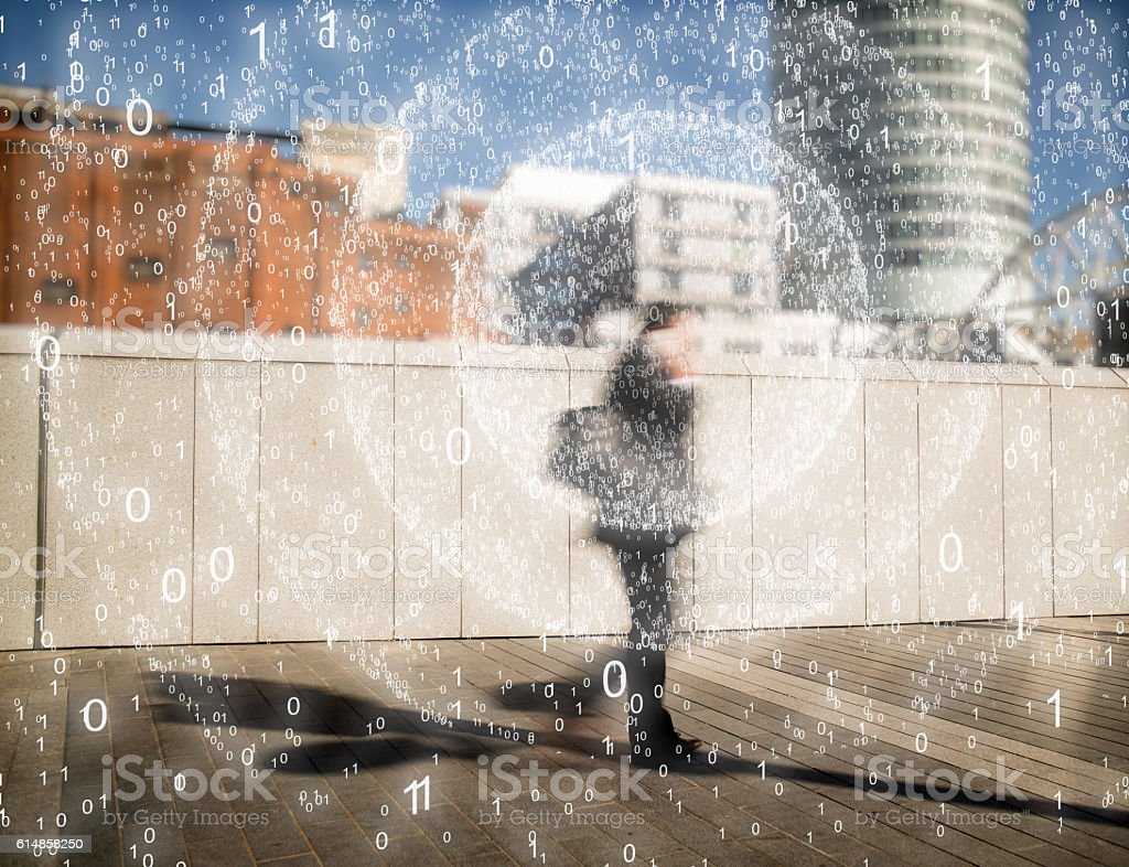 Business man on mobile phone sending out signals. stock photo