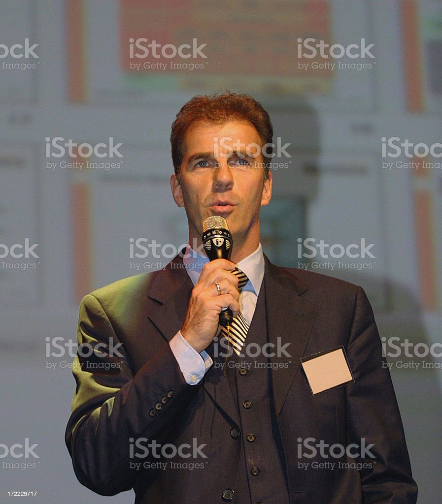 Business man on stage royalty-free stock photo