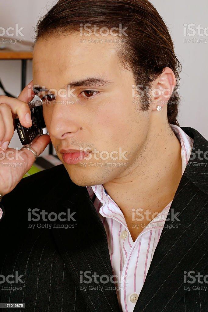 Business Man on Telephone stock photo