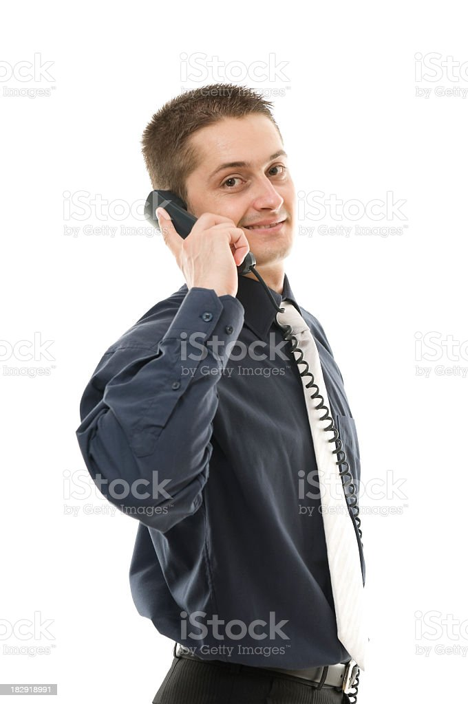 Business man on the phone, isolated royalty-free stock photo
