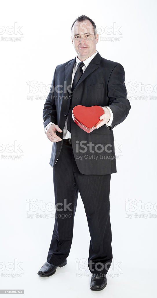 Business man on white background for St Valentine's day royalty-free stock photo