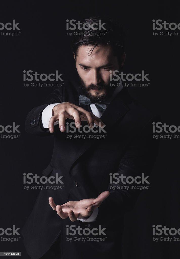 business man open hand stock photo