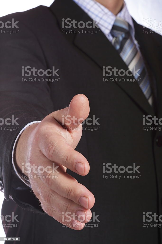 business man open hand seal a deal royalty-free stock photo