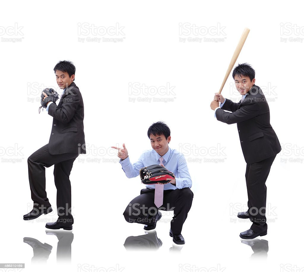 Business man ( pitcher, catcher and batter) stock photo