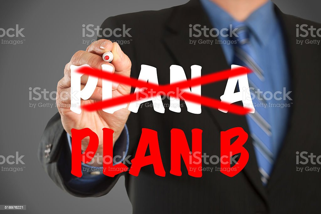 Business man, Plan A and Plan B stock photo