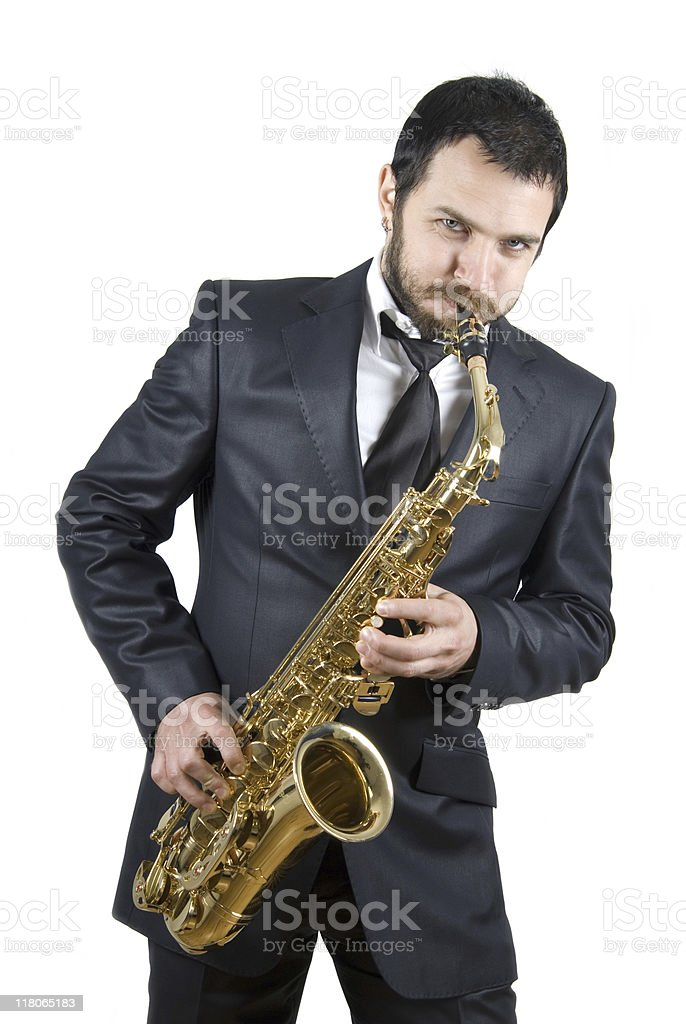 business man playing saxophone royalty-free stock photo