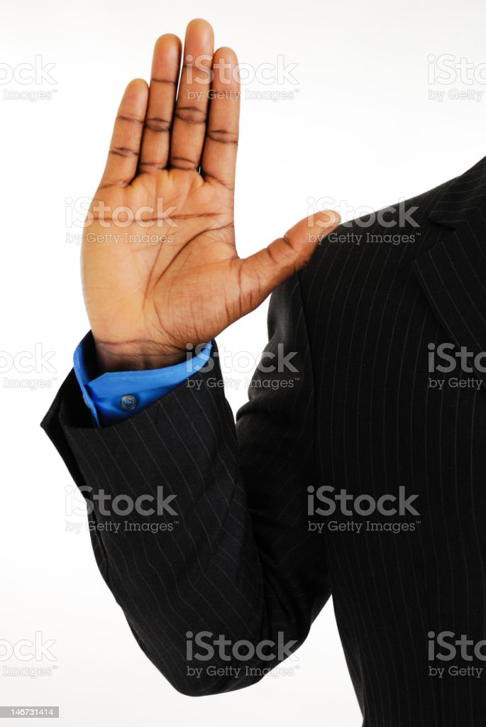 Business man pledging stock photo