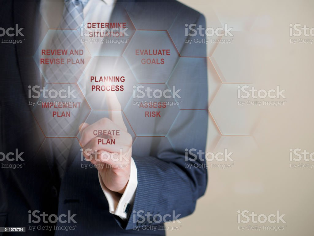 Business man point a infographic sign stock photo