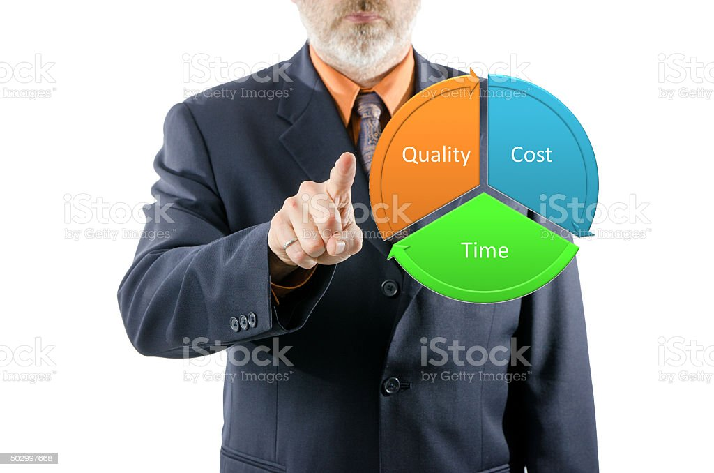 Business man pointing at project concept stock photo