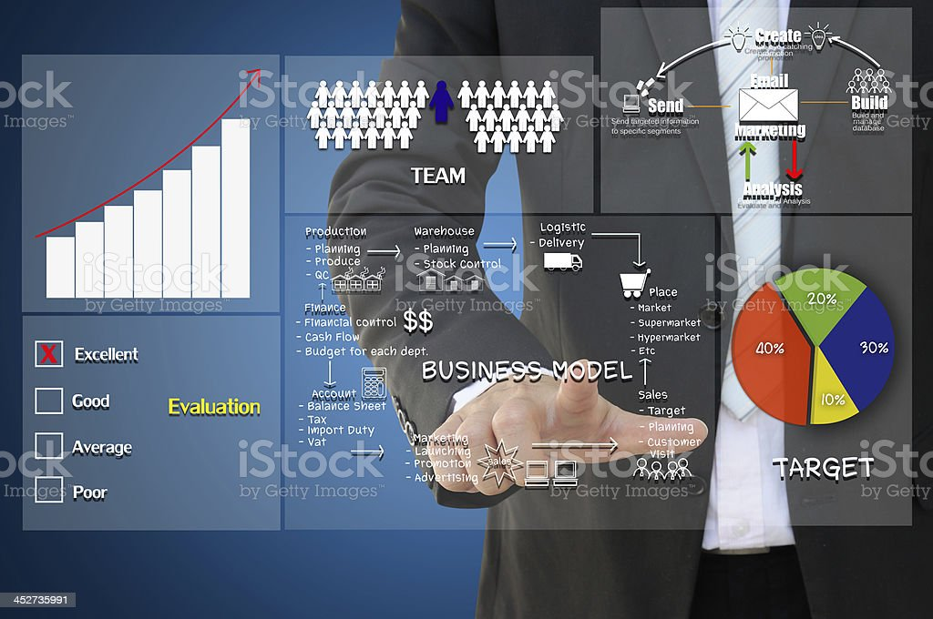 Business man pointing to concept on digital screen stock photo