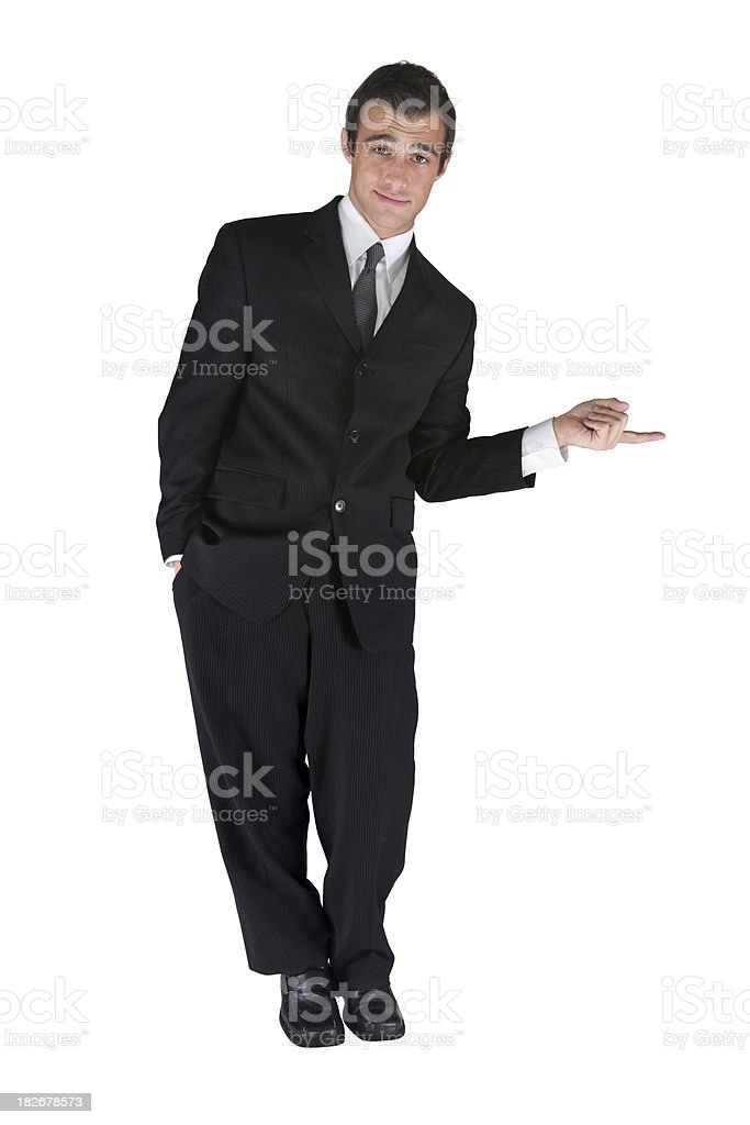 Business man pointing to side royalty-free stock photo