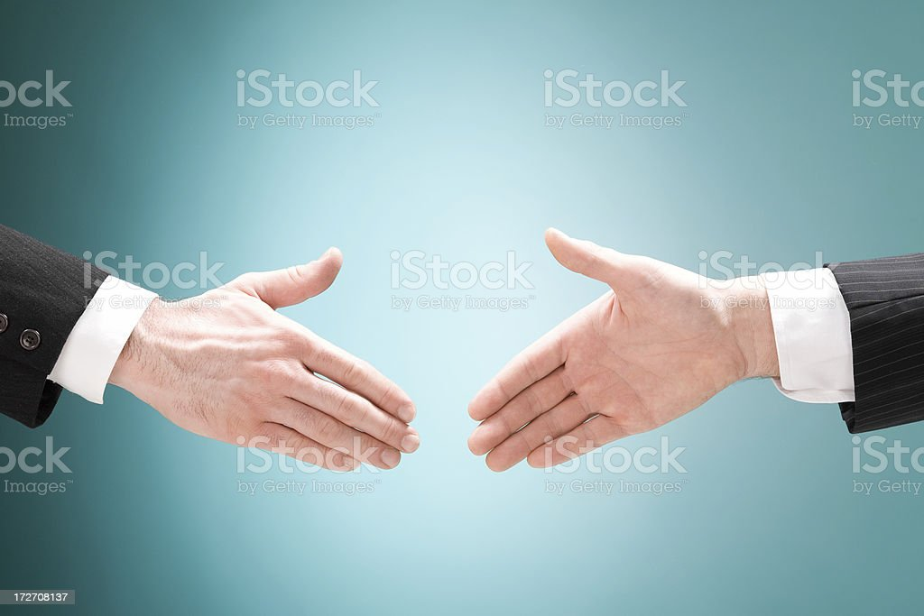 business man positive deal with handshake isolated royalty-free stock photo