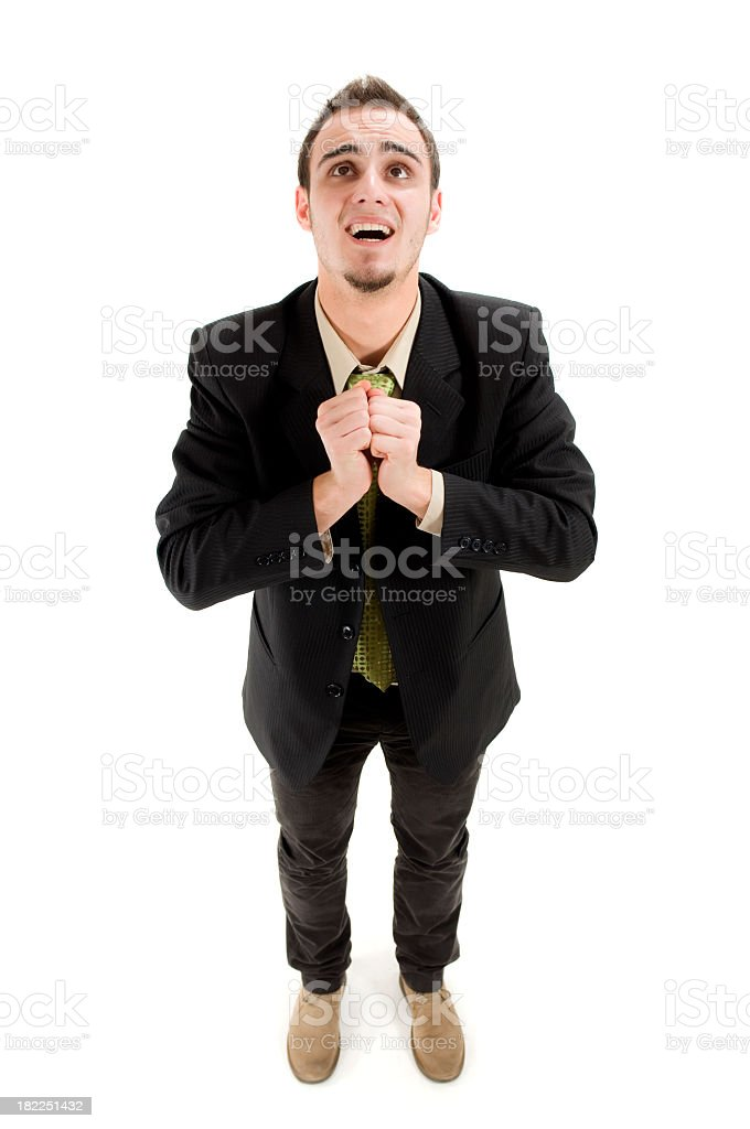 Business man praying royalty-free stock photo