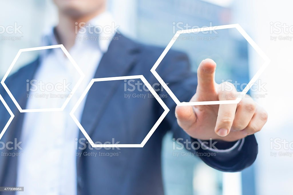 Business man presenting digital scheme stock photo