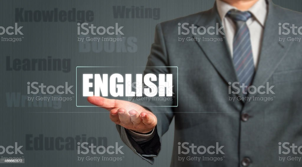 Business man Presenting English Language Icon stock photo
