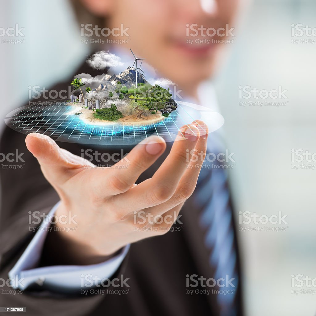 Business man presenting his better world project stock photo