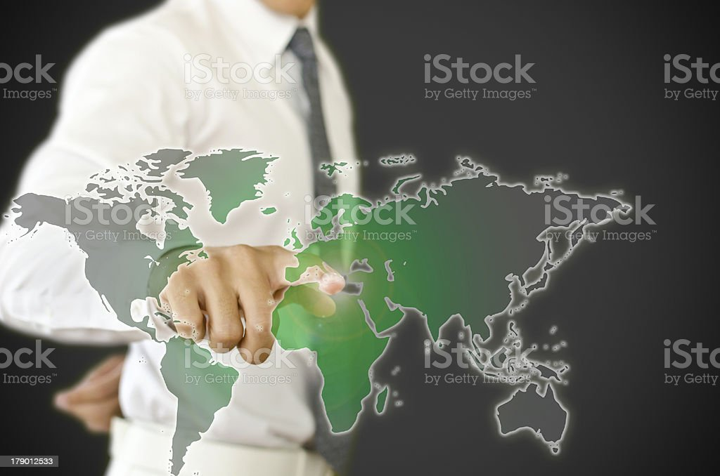 Business man pressing , change black world to green earth royalty-free stock photo