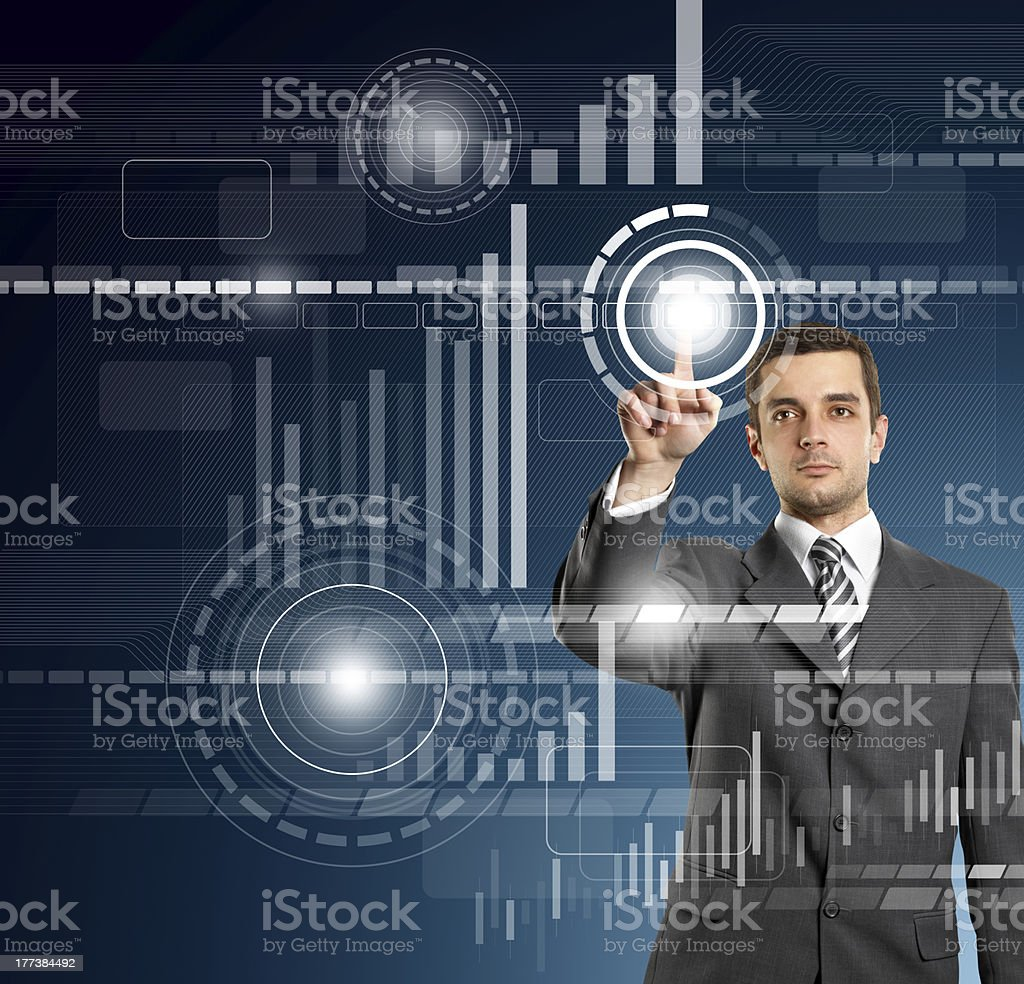 Business Man Push the Button royalty-free stock photo
