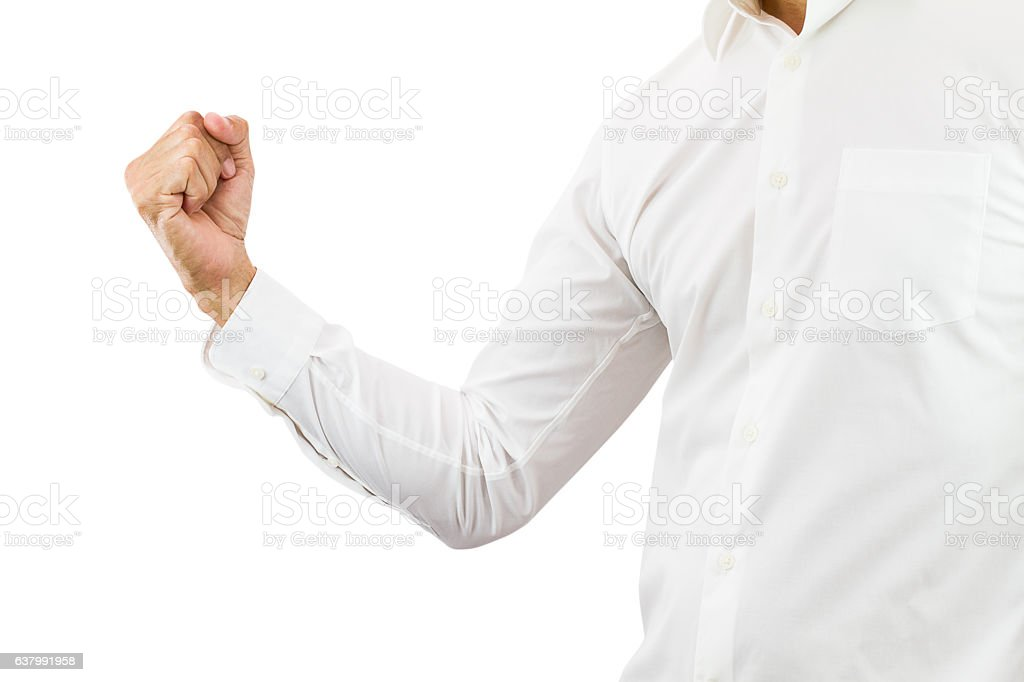 Business man raising right fist up with cheerful stock photo