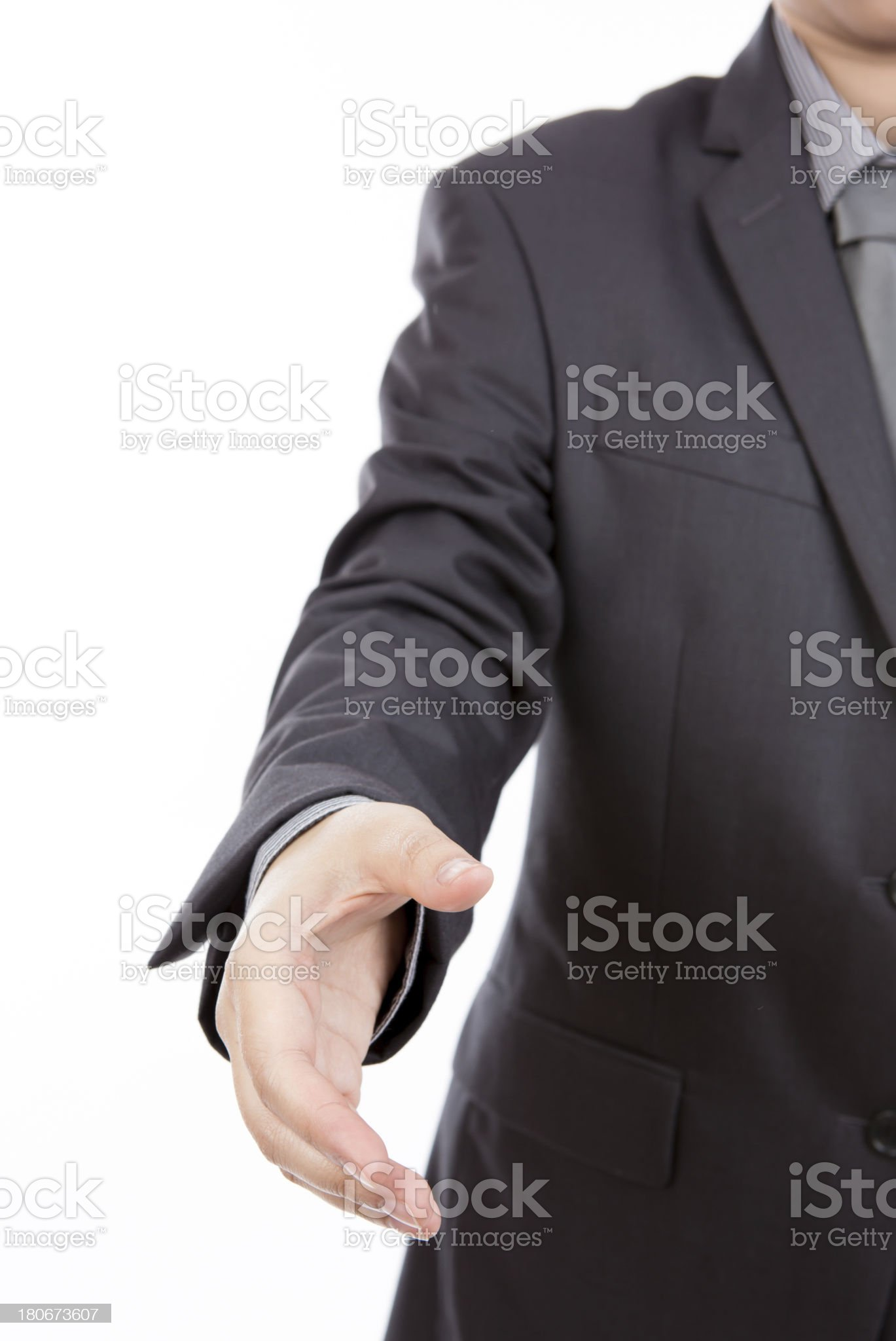 Business man ready to set a deal over white background royalty-free stock photo