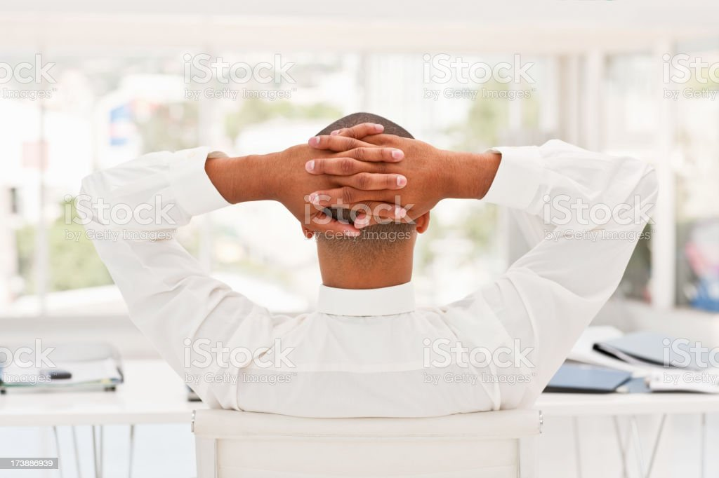 Business man relaxing at office royalty-free stock photo