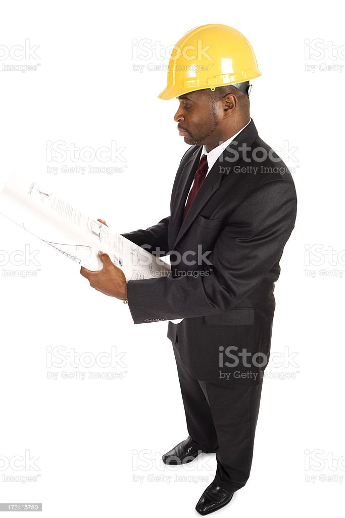 Business man reviewing architecture documents royalty-free stock photo