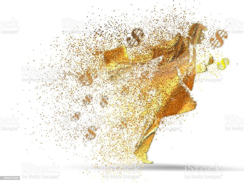 Business man Running, Gold particle divergent composition royalty-free stock photo