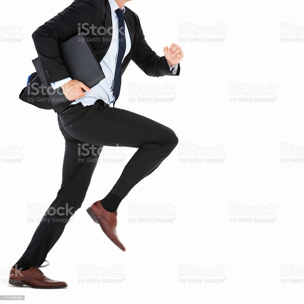 Business man running on isolated white royalty-free stock photo