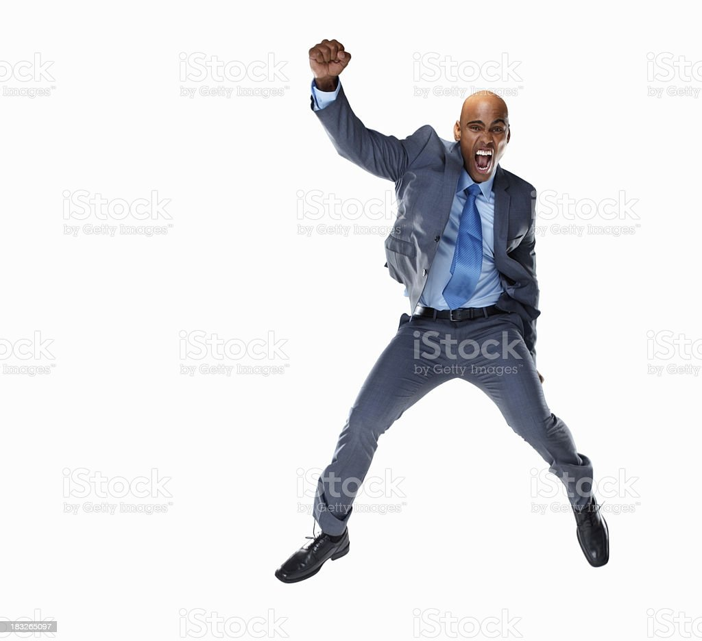 Business man screaming against white background - copyspace royalty-free stock photo