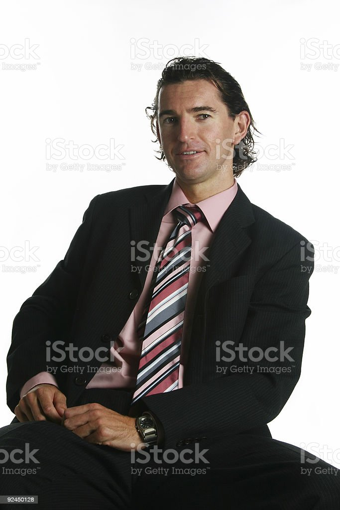 Business man seated stock photo