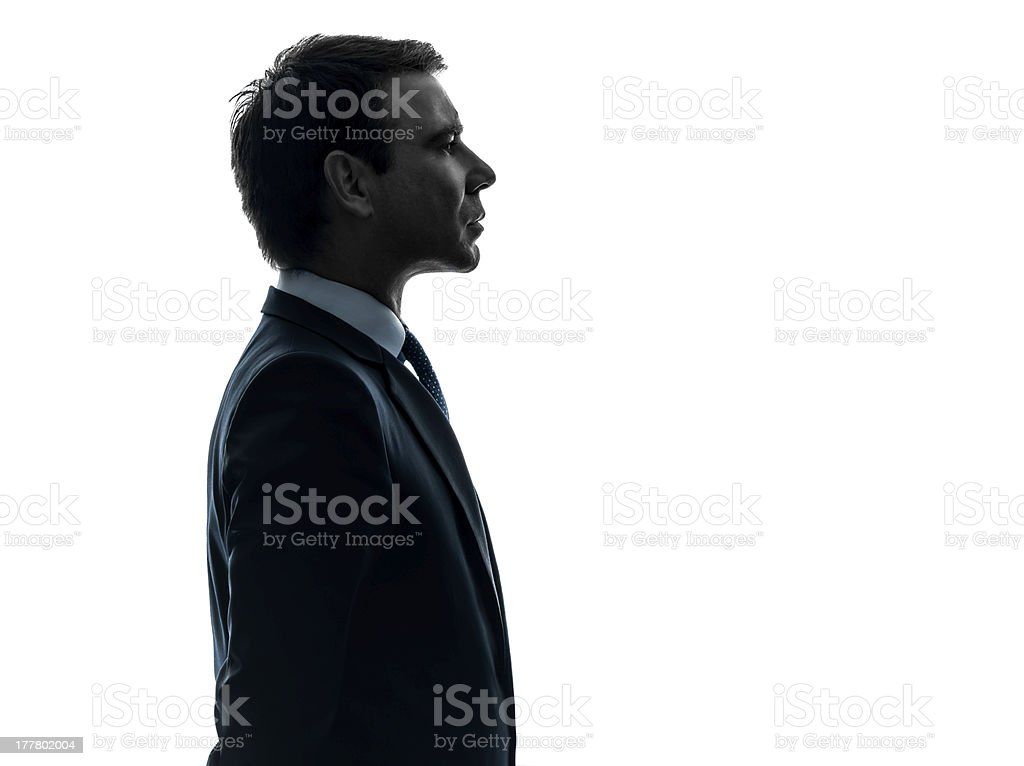 business man serious portrait profile silhouette stock photo