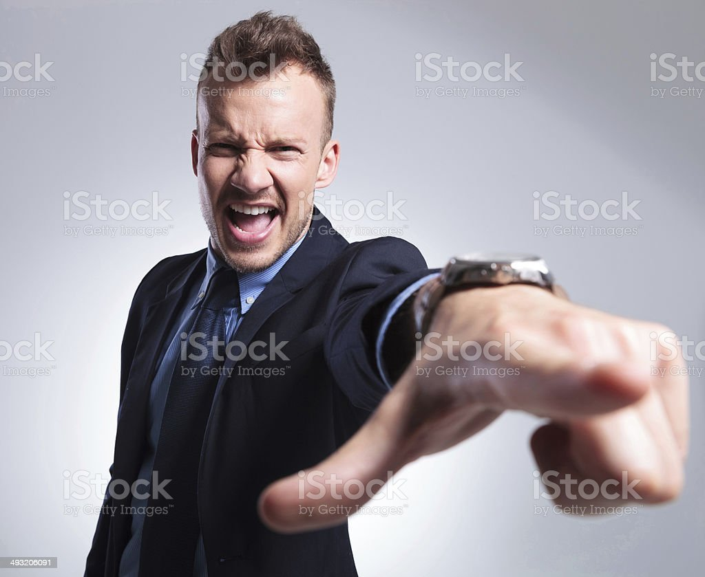 business man shouting at you royalty-free stock photo