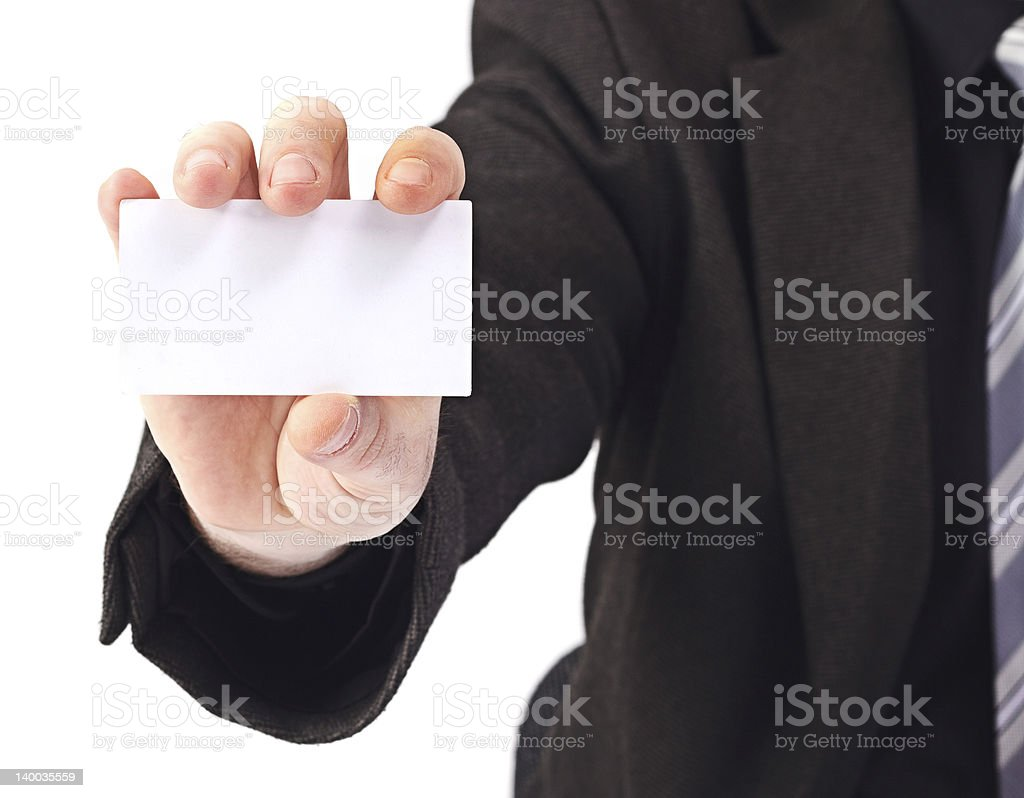 Business man showing a blank white card royalty-free stock photo