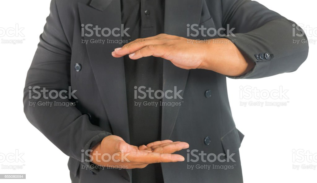 business man showing a size on white isolated background stock photo