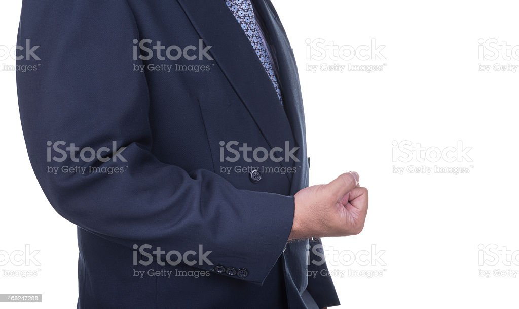 Business man showing a success sign gesture. stock photo