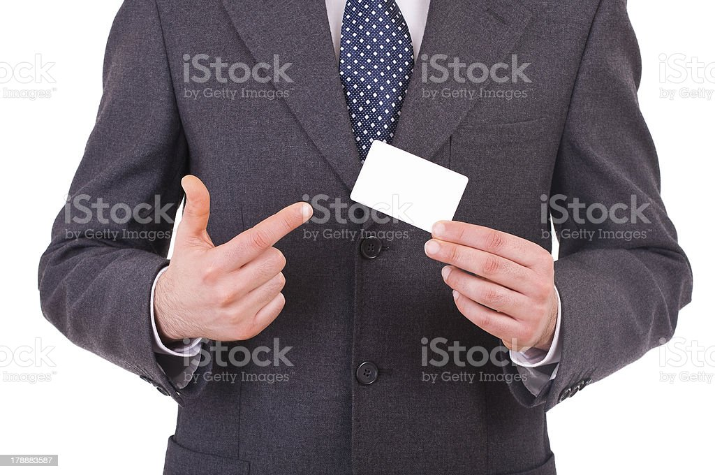 Business man showing blank card. royalty-free stock photo