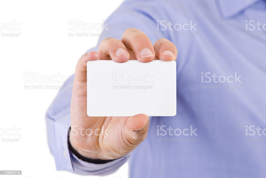 Business man showing blank card. stock photo