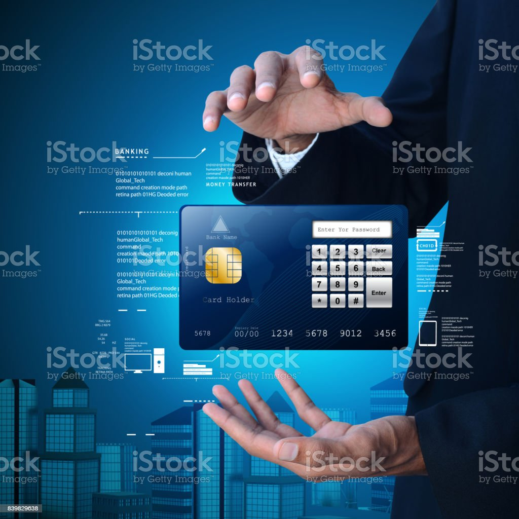 Business man showing credit card in color background stock photo