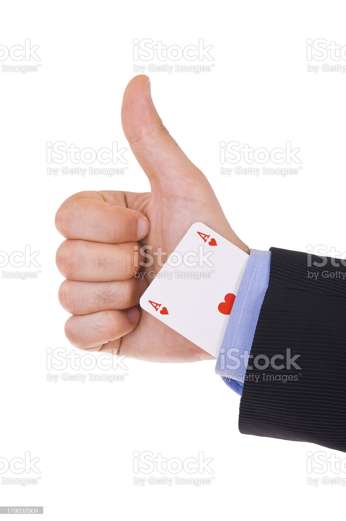 Business man showing ok sign with ace card under sleeve. royalty-free stock photo