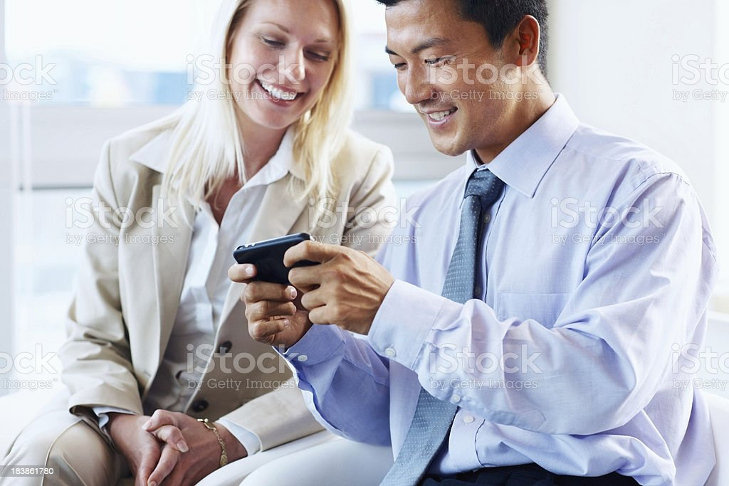 Business man showing text message royalty-free stock photo