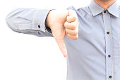 Business man showing thumbs down sign isolated on white backgrou