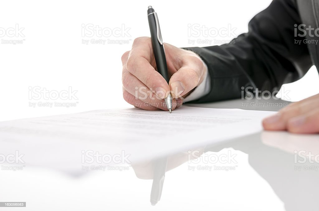 Business man signing a contract royalty-free stock photo