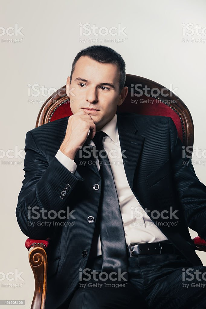 business man sitting and thinking royalty-free stock photo