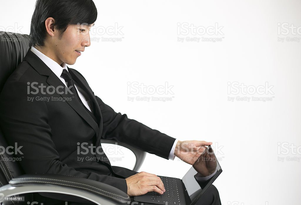 business man sitting with tablet royalty-free stock photo