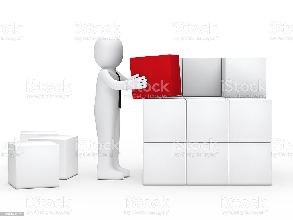 Business man stack cubes royalty-free stock photo