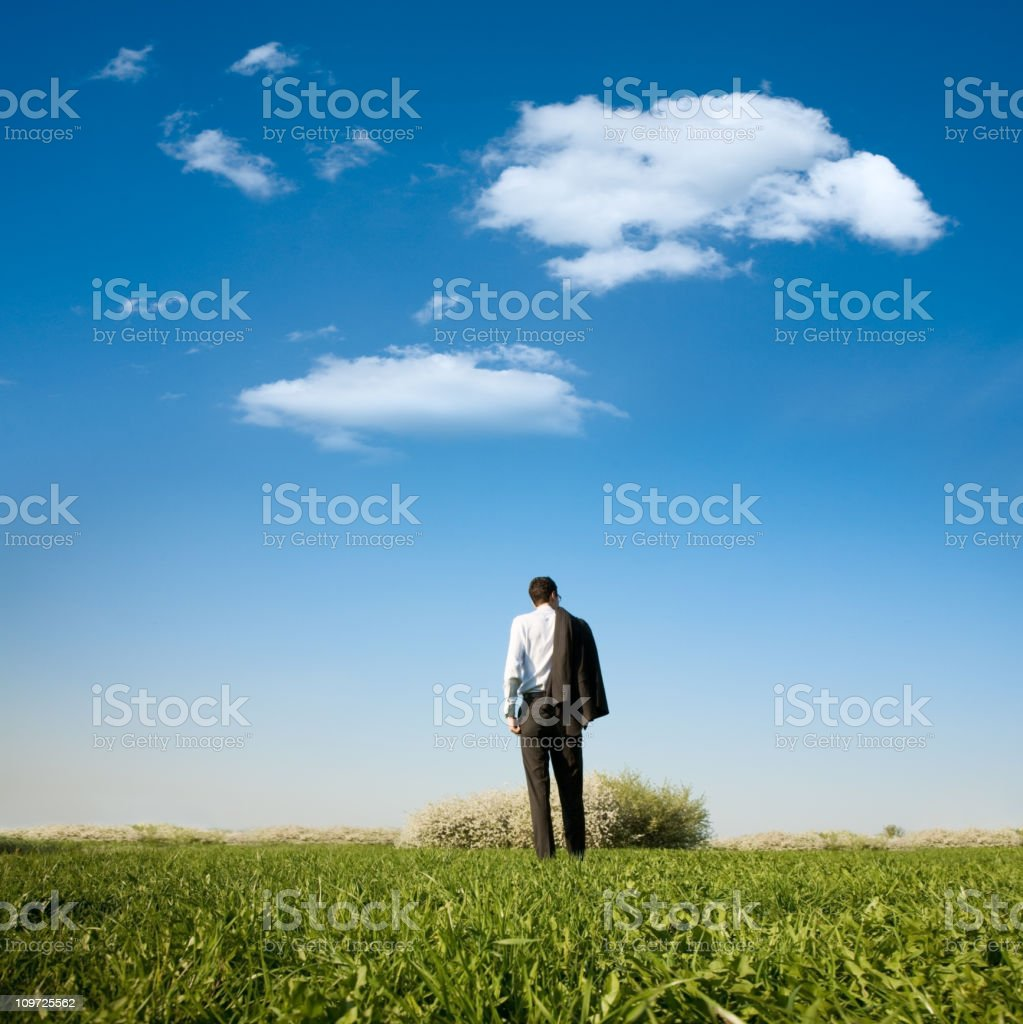 Business man standing in field royalty-free stock photo